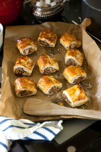 Spiced turkey and sausage rolls.