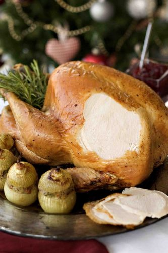© Copyright Michael Powell. www.michaelpowell.com 17 Cow Lane, Tealby, Lincs. LN8 3YB 01673 838040. Christmas turkey recipes: Roast Turkey with fig & shallot stuffing.